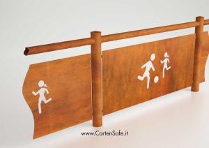 CortenSafe dettaglio costruttivo di pannelli ciechi anticaduta personalizzabili.