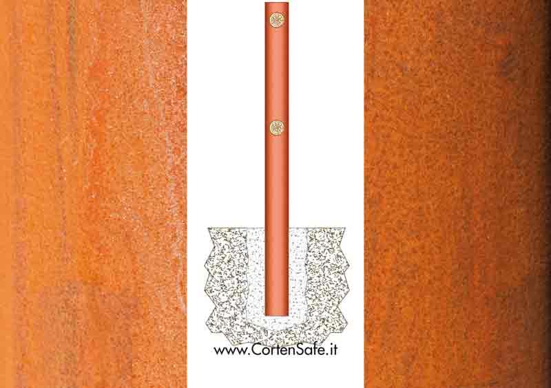 Sistema di sostegno su fondazione puntuale con cemento armato