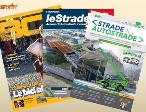 Articoli dedicati alle soluzioni CortenSafe nelle riviste BC, Strade & Autostrade e leStrade
